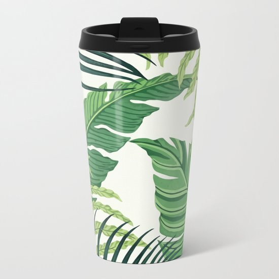 Green tropical leaves II Metal Travel Mug