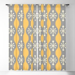 Mid Century Modern Ogee Pattern 151 Gray Beige and Yellow Blackout Curtain