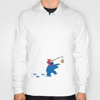 elmo Hoodies featuring Cookie Monster Donkey - Larger Placement by OneWeirdDude