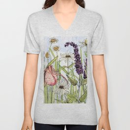 Lady Slipper Orchid Woodland Wildflower Watercolor Unisex V-Neck