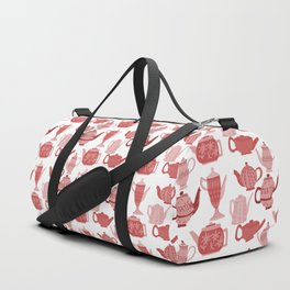 Vintage Tea Pots Time for Tea Red and Pink on White Art Duffle Bag