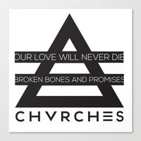 chvrches Canvas Prints featuring chvrches by marney cinclair