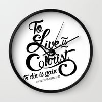 verse Wall Clocks featuring Typographic Verse by Ruthie Designs