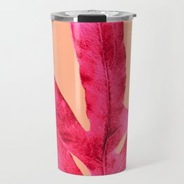 Peach Pink Ferns, Living Coral Travel Mug