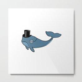 Whale Wearing Top Hat Metal Print
