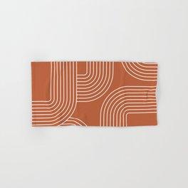 Mid Century line art - terracotta Hand & Bath Towel