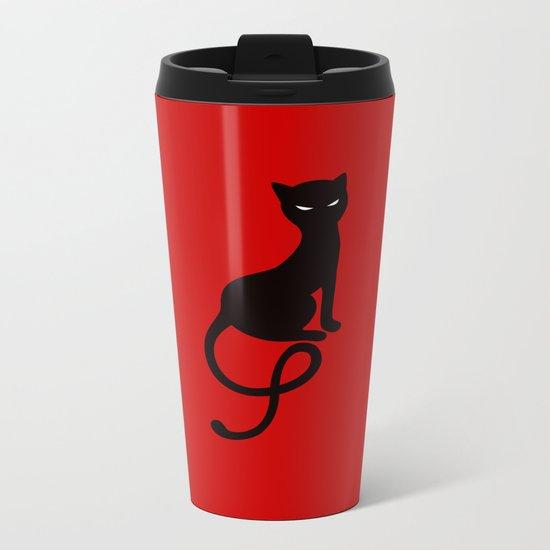 Red Gracious Evil Black Cat Metal Travel Mug