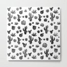 Cactus Succulents Pattern Metal Print
