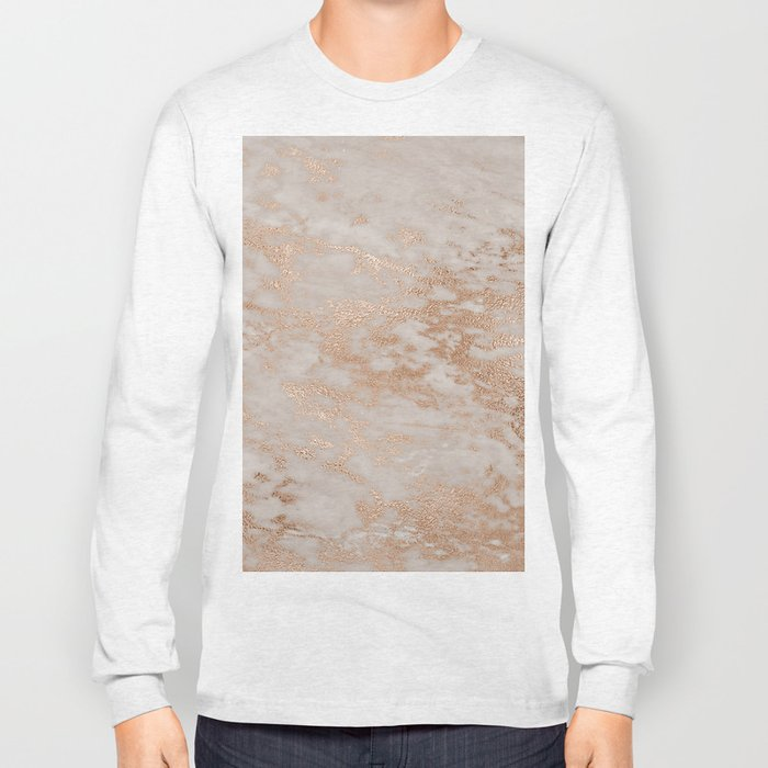 Rose Gold Copper Glitter Metal Foil Style Marble Long Sleeve T-shirt