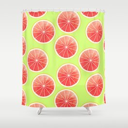 Pink Grapefruit Slices Pattern Shower Curtain