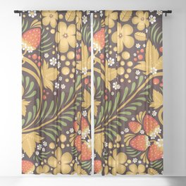 Native floral ornament Sheer Curtain