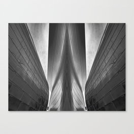 Architectural abstract captured in black and white from low perspective rendering a dramatic view. Canvas Print