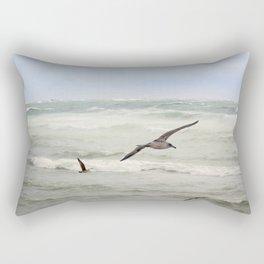 Seagulls flying over rough sea Rectangular Pillow