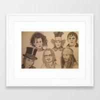 johnny depp Framed Art Prints featuring Johnny Depp by Virginieferreux