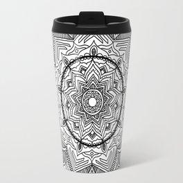 Black Flower Mandala Travel Mug