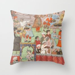 A Feast for Babur Hosted by his Half-Brother Jahangir Mirza in Ghazni in May 1505 - 16th Century Classical Indian Art Throw Pillow