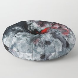 Red and Black Minimalist Abstract Painting Floor Pillow