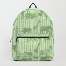 Distressed Jungle Theme Animal Safari Green Elephants Lions Giraffes Rhinos on Stripes Backpack