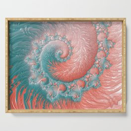 Living Coral Teal Blue Spiral Swirl Pattern Abstract Coral Reef Fractal Serving Tray