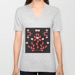 Pink floral fantasy dark Unisex V-Neck