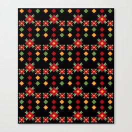 Abstraction .National ethnic ornament . Black background . Canvas Print