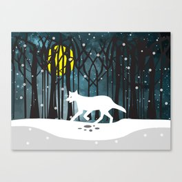 White Wolf at Midnight Canvas Print