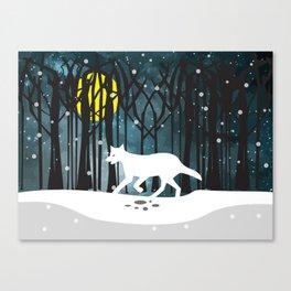 White Wolf at Midnight Canvas Print