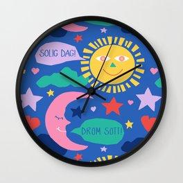 Swedish Folk Celestial in Country Blue Wall Clock