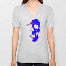 Skull - Blue Unisex V-Neck