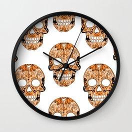 Orange Skull Pattern Wall Clock