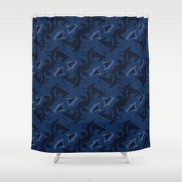 Indigo Blue Shibori Dye Hand Drawn Japanese Style Shower Curtain