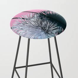 Yucca Plant in Front of Striped Pink Wall Bar Stool