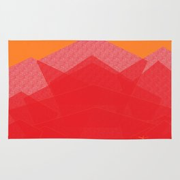 Colorful Red Abstract Mountain Rug