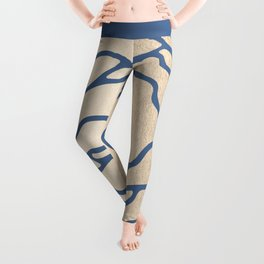 Rose White Gold Sands on Aegean Blue Leggings