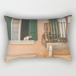 The cat on the balcony Rectangular Pillow