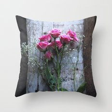 Rustic Pink Roses Throw Pillow