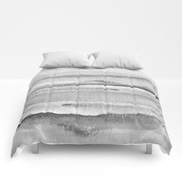 Foggy view abstract landscape paintin - Grayscale minimal design Comforters