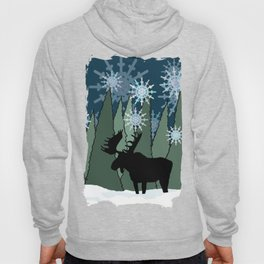 Moose in the Snowy Forest Hoody
