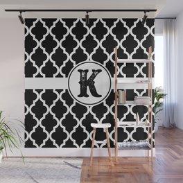 Black Monogram: Letter K Wall Mural