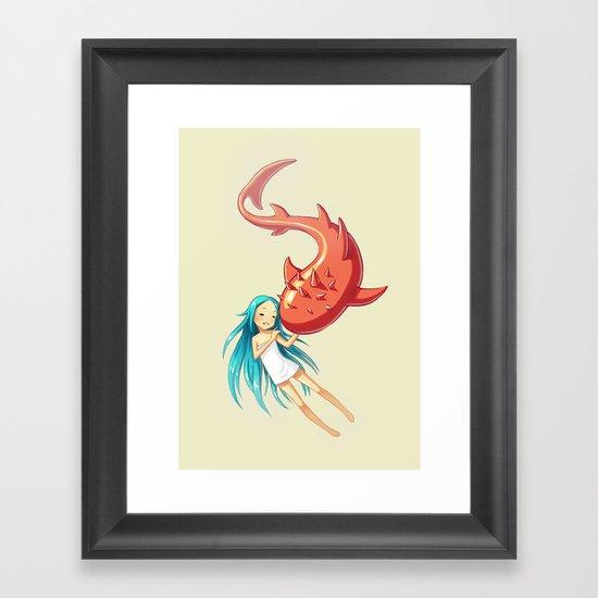 Red Whale Framed Art Print