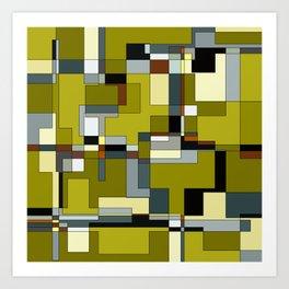 Patchwork in Olives Art Print
