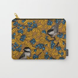 Chickadee birds on blueberry branches Carry-All Pouch
