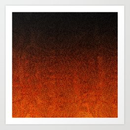 Orange & Black Glitter Gradient Art Print