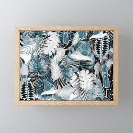 Tropical leaves and parrots marker illustration Framed Mini Art Print