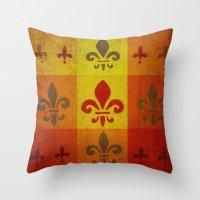 fleur de lis Throw Pillows featuring Fleur de lis #3 by Camille