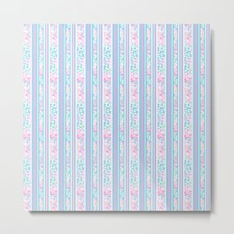 Lipstick Pink Roses and Butterflies - Stripes Metal Print