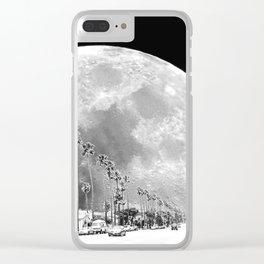 California Dream // Moon Black and White Palm Tree Fantasy Art Print Clear iPhone Case
