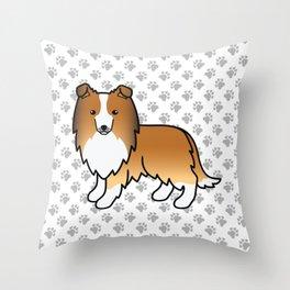 Sable Shetland Sheepdog Dog Cartoon Illustration Throw Pillow