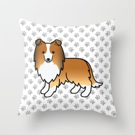 Sable Shetland Sheepdog Dog Cartoon Illustration Throw Pillow