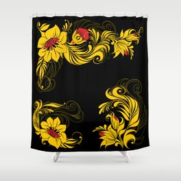 Golden floral ornament Shower Curtain
